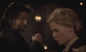 Hell on Wheels Lily Bell Cullen Bohannon share a drink