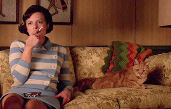 "Mad Men ""Favors"" Peggy Olsen with a cat"
