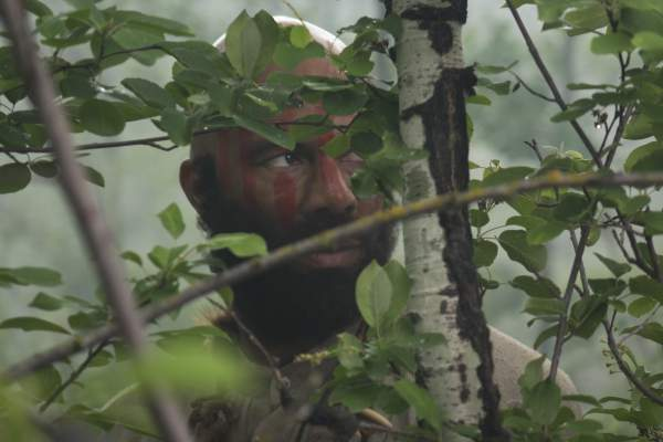 """Hell on Wheels """"Bear Man"""" Elam in the woods"""