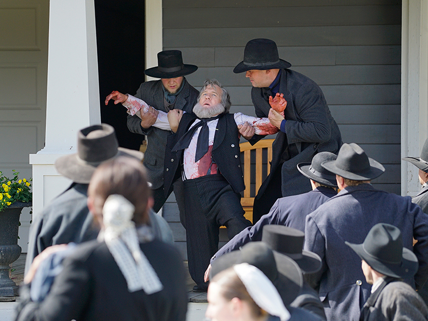 """Hell on Wheels, """"False Prophets"""" -- Brigham Young is stabbed"""